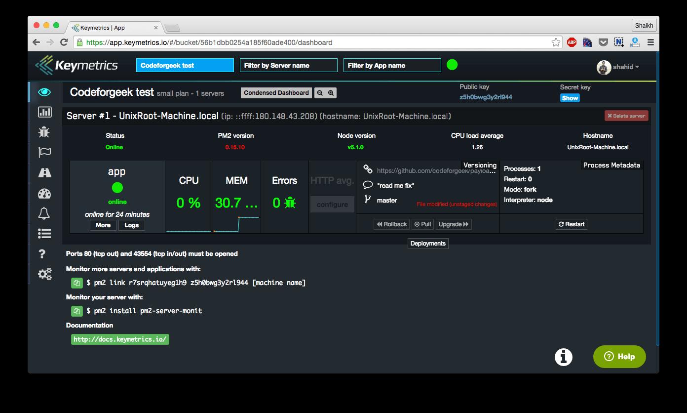 Nodejs monitoring using keymetrics