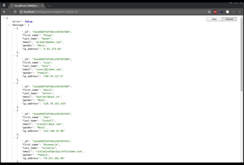 Pagination API response